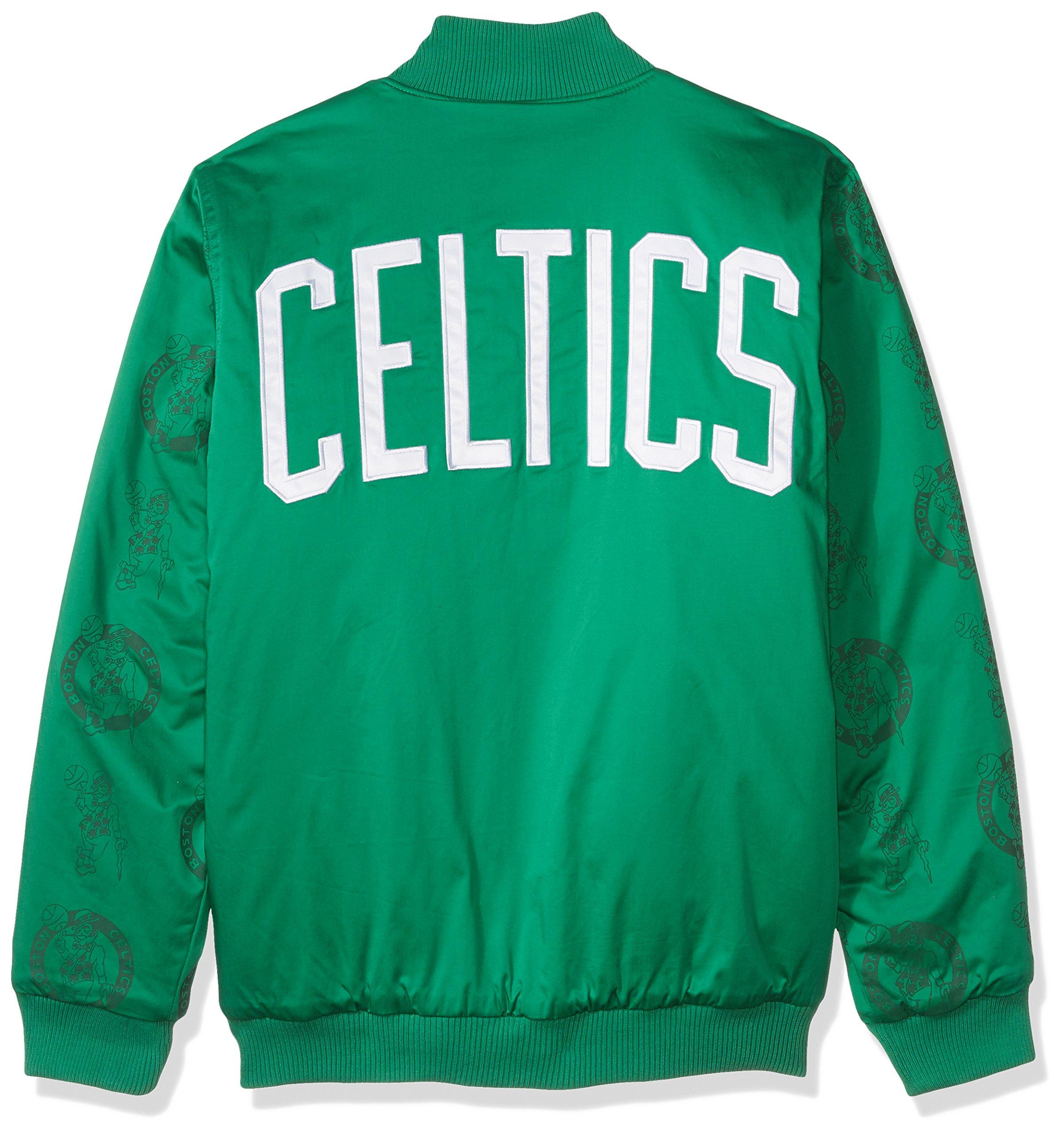 STARTER NBA Boston Celtics Men's Varsity Bomber Jacket, 3X, Green by STARTER (Image #2)