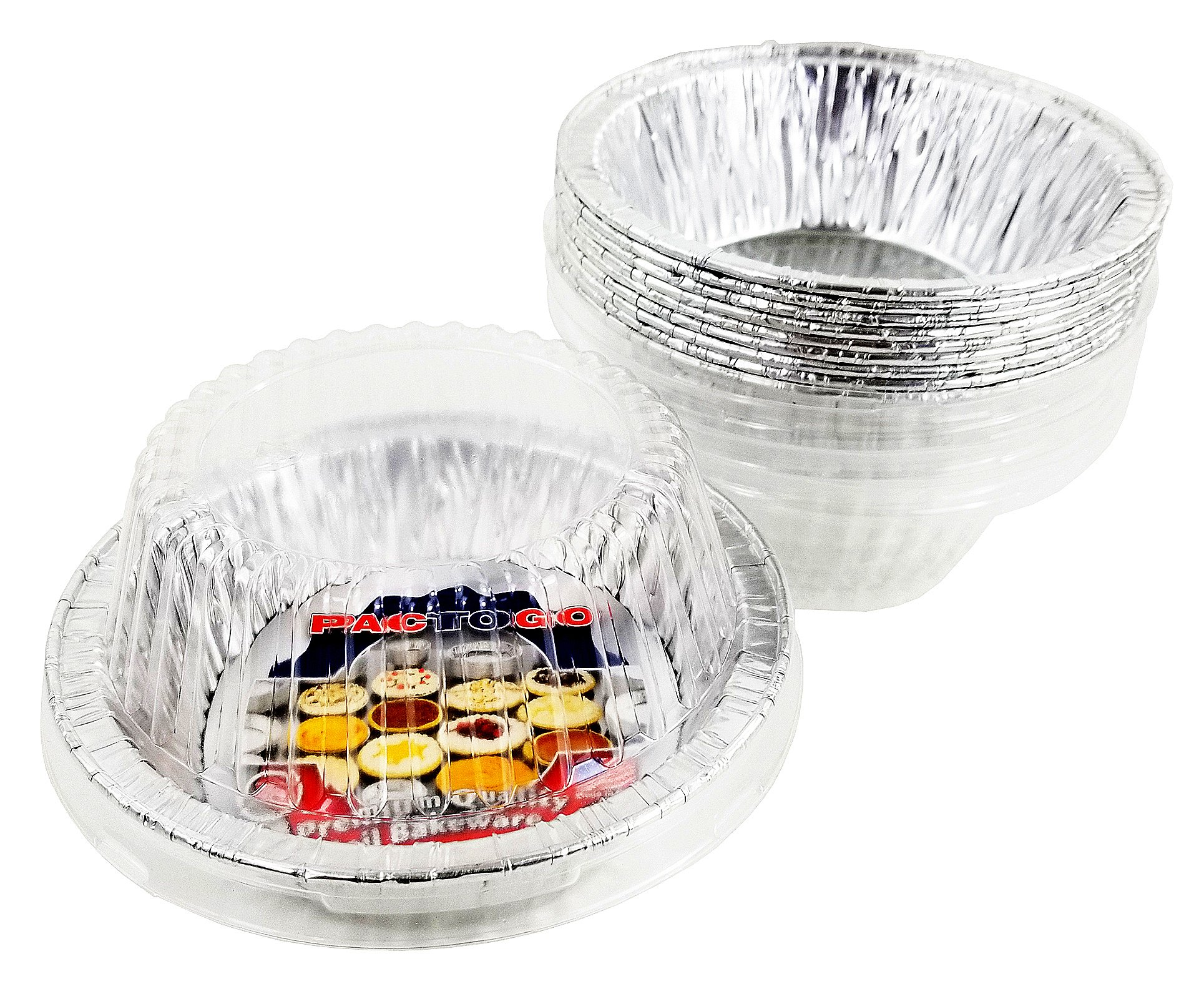 Pactogo Disposable Aluminum 5 3/4'' Meat Pot Pie Extra Deep Pan Baking Tin w/Clear Dome Lid (Pack of 25 Sets)