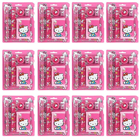 Asera Pink Hello Kitty Gift Pack For Kids Set Of 12 Birthday Return Gifts Theme Party Amazonin Toys Games
