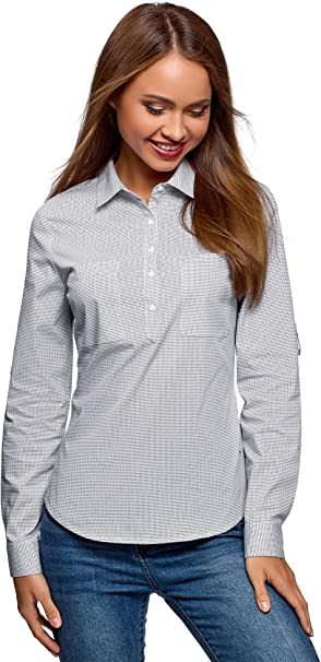 oodji Ultra Mujer Camisa de Algodón con Bolsillos: Amazon.es: Ropa y accesorios