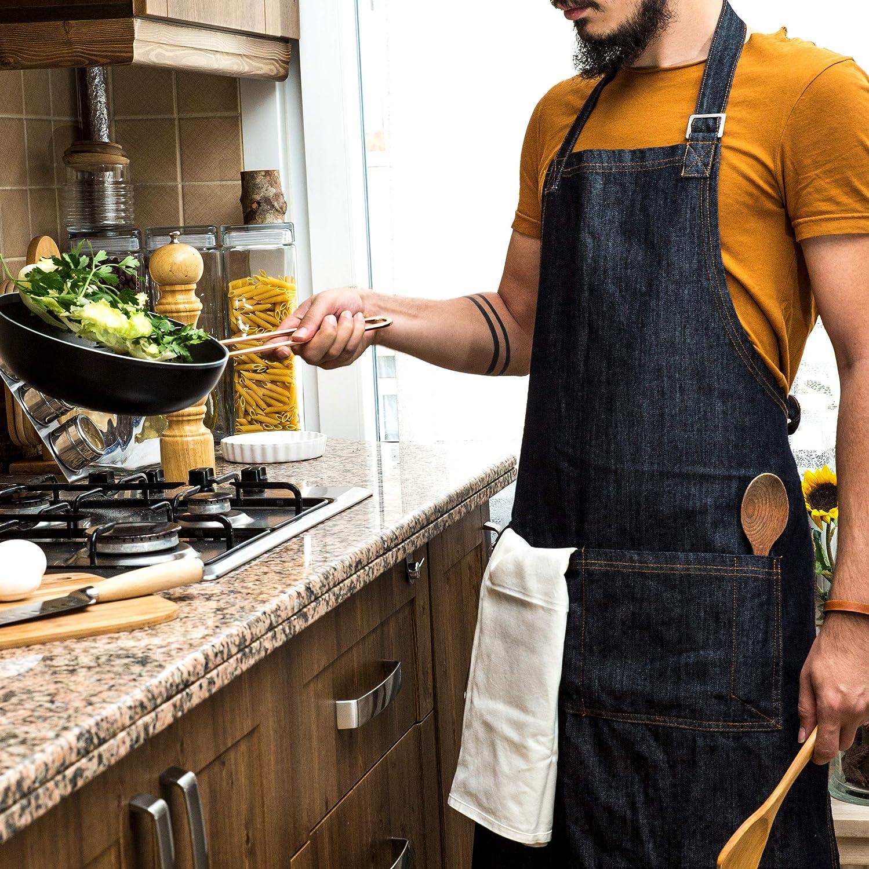 barbecue et grill avec 6 poches Marron et noir QeeLink Tablier de chef en cuir pour cuisine