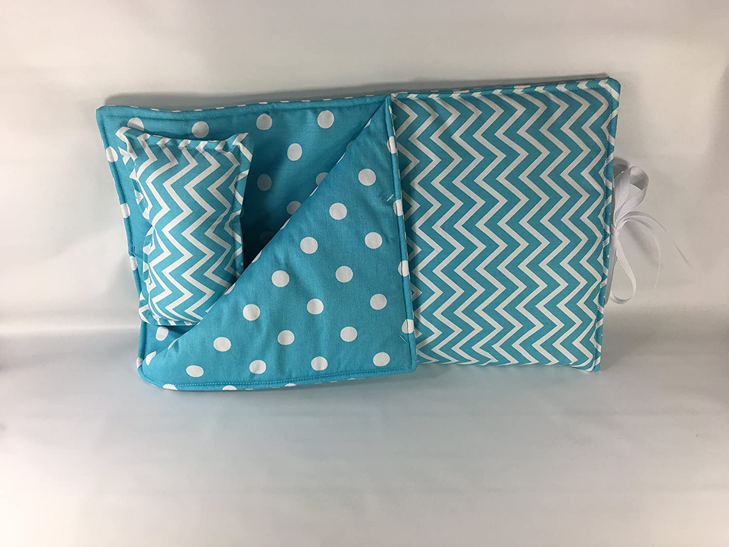 18 Doll Sleeping Bag Girly Blue and White Chevron Print