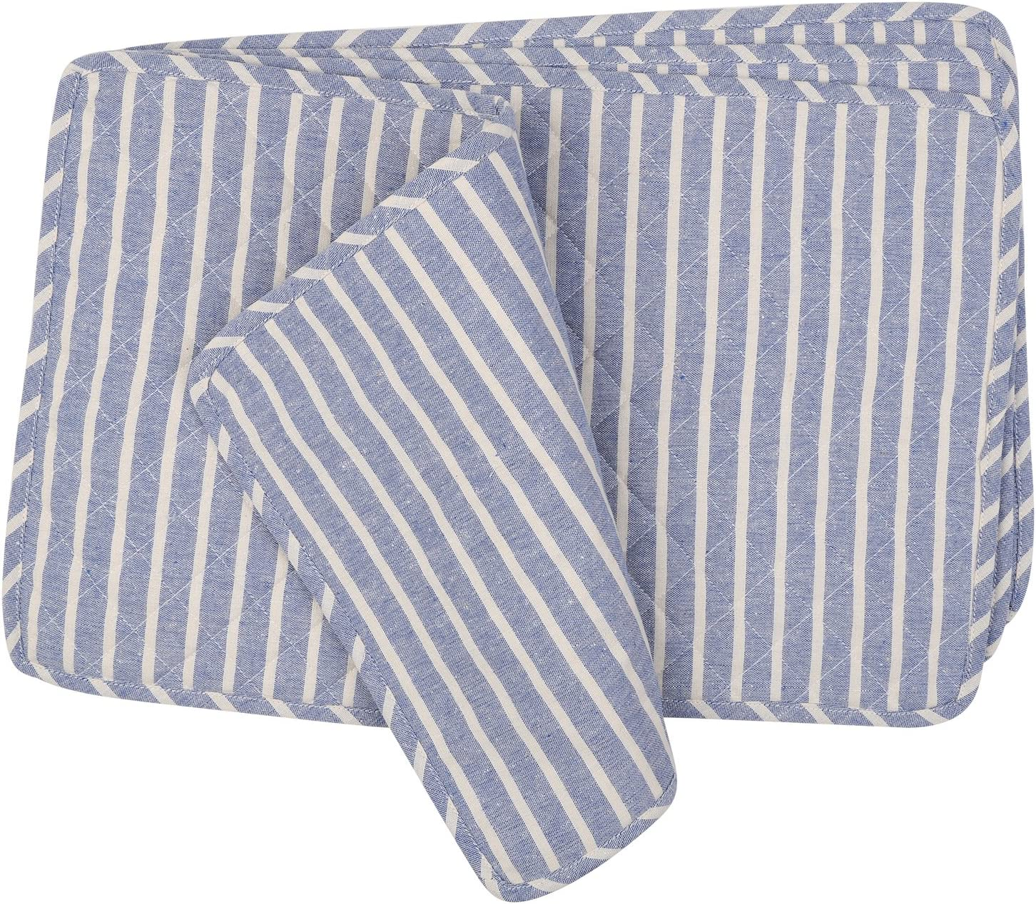 NEOVIVA Quilted Denim Placemats for Kitchen Table, Set of 4, Chalk Striped Cosmic Sky