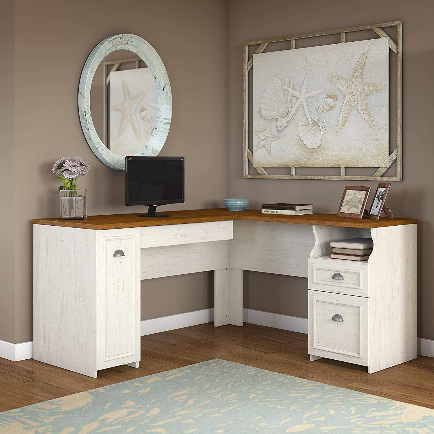 Fairview L Shaped Desk In Antique White. By Bush Furniture
