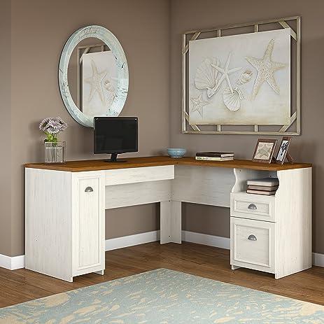 Fairview L Shaped Desk In Antique White