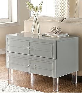 iconic home davis stylish accent furnishing modern lucite leg side table smokey