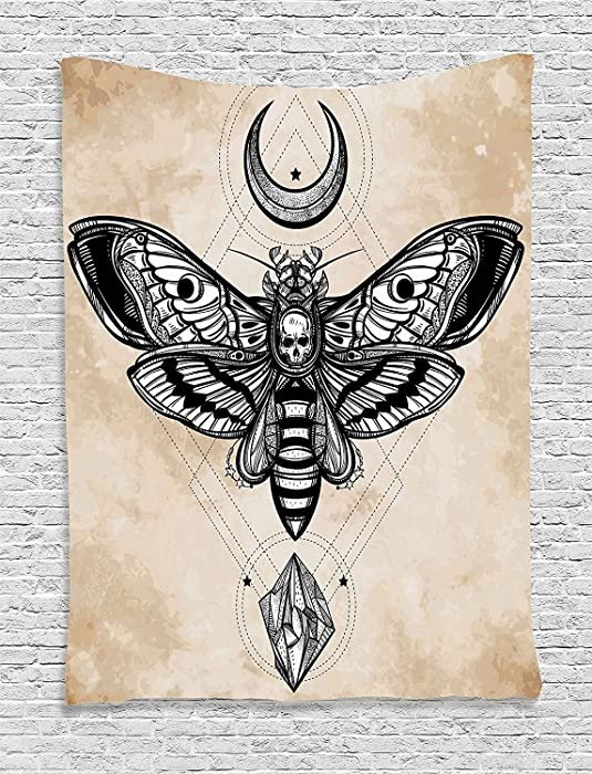 Black Moth with Skull Face in Gothic Grunge Style, Connect with Crescent Moon and Precious Stone, Bedroom Living Room Dorm Wall Hanging Tapestry