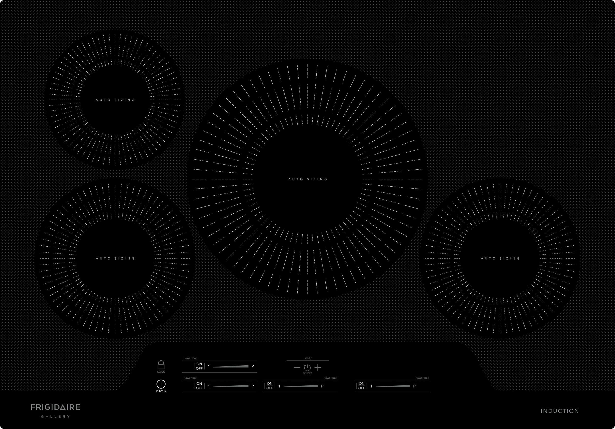 "Frigidaire FGIC3066TB Gallery 30"" Electric Induction Cooktop, Built-in 4-Burner, Vitroceramic Glass, Black"