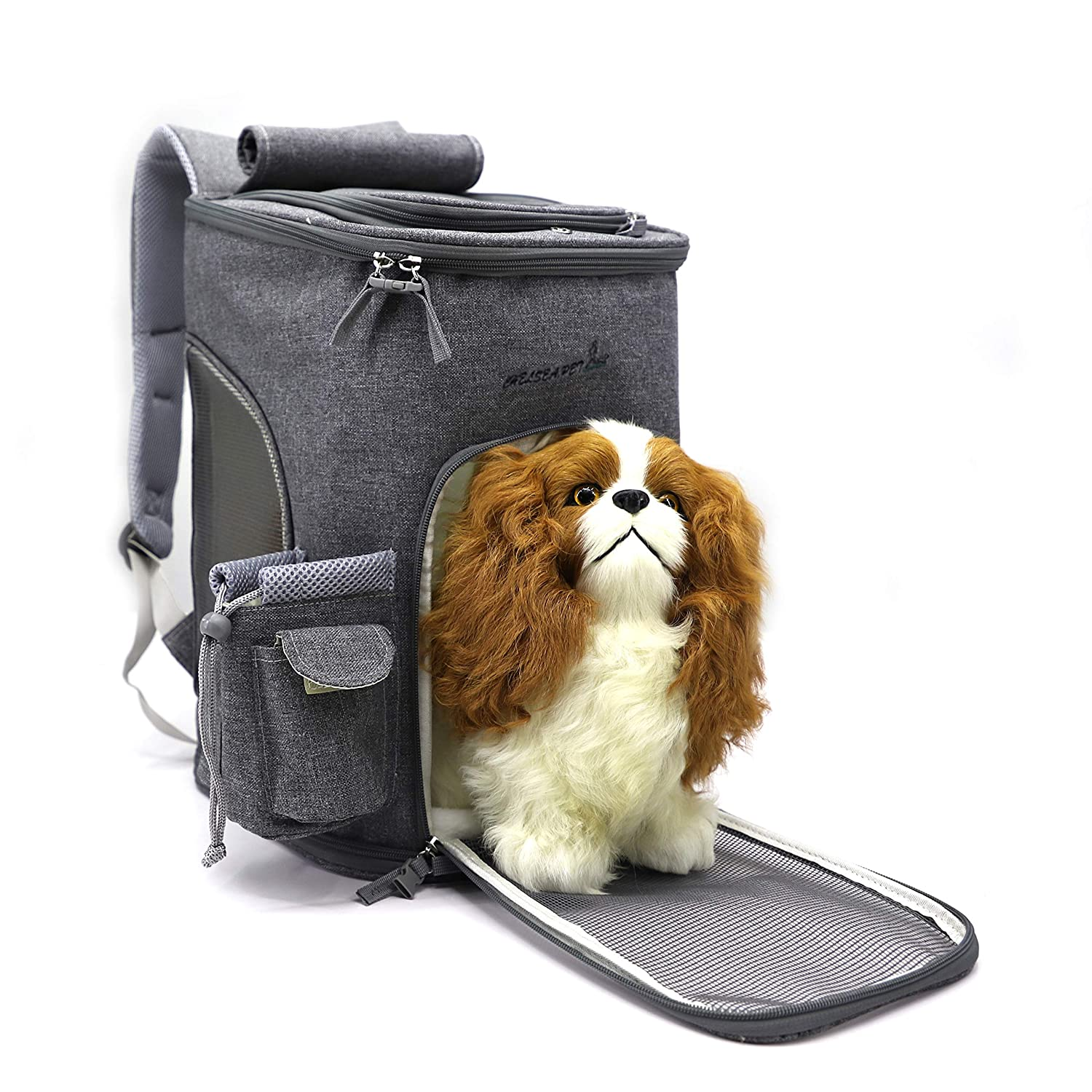 64b53f38d0 Amazon.com : Soft-Sided Pet Carrier Backpack for Small Dogs and Cats  Airline-Approved, Designed for Travel, Hiking, Walking & Outdoor Use(Grey)  : Pet ...