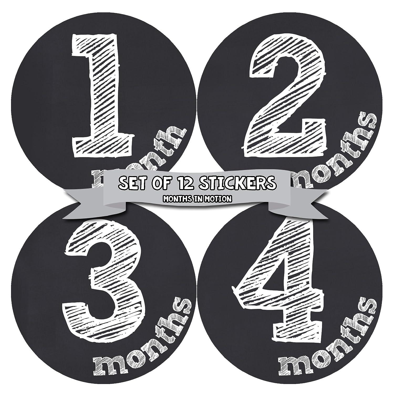 Months in Motion マンスリー ベビー ステッカー ベビー 男の子または赤ちゃん 女の子 黒板 (1126)   B06XBFXL5N