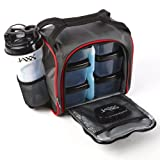 Amazon Price History for:Fit & Fresh Jaxx FitPak Meal Prep Bag and Container Set with 6 Leakproof Portion Control Containers, Ice Pack and 28-ounce Jaxx Shaker Cup, Black/Red