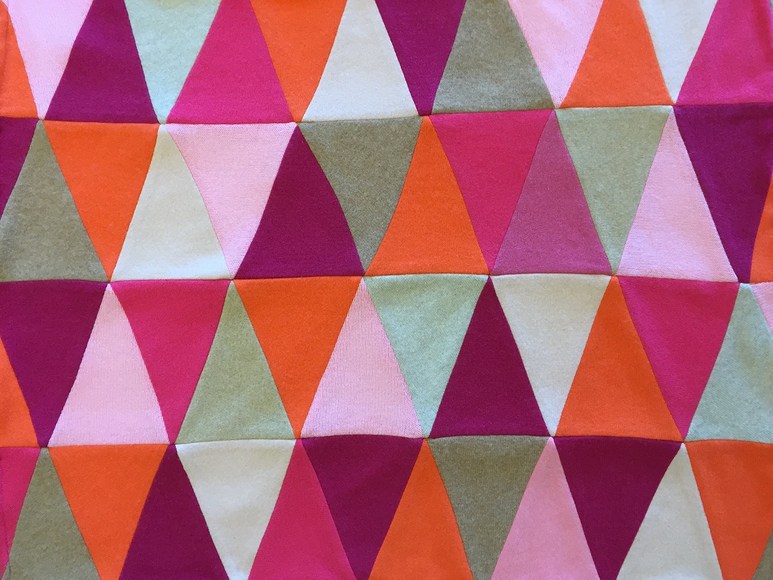 Triangle 100% Cashmere Baby Blanket Patchwork Quilt - Made to Order Custom Colors - Pink Orange Beige