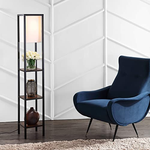 Safavieh FLL4044C Home Collection Rista Cherry and Black Shelf Floor Lamp