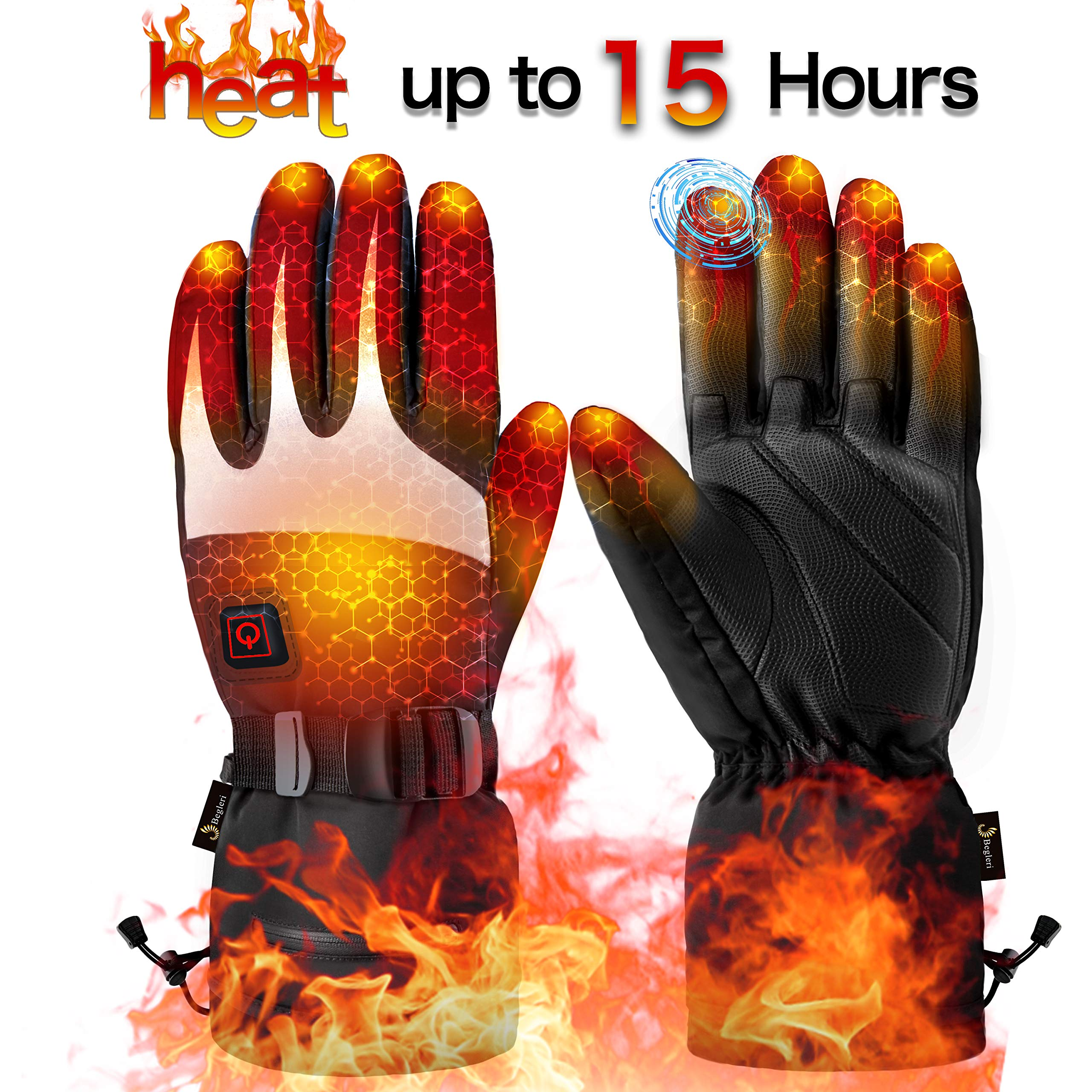 Heated Gloves for Men Women - Electric Heating Gloves, Battery Heated Motorcycle Gloves Rechargeable for Winter Sports