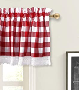 Valance Curtain, Gingham Check Plaid Pattern, Extra Wide and Short Window Treatment for Kitchen Living Dining Room Bathroom Kids Girl Baby Nursery Bedroom - 72 x 16 Set of 2 Color Red & White