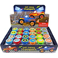 TINYMILLS 24 Pcs Monster Truck Assorted Stamps for Kids Self Ink Stamps (12 Different Designs) Birthday Party, Monster…