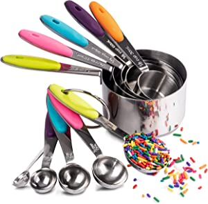 Akurn 10-Piece Measuring Cups and Spoons Set, Includes 5 Measuring Cups and 5 Measuring Spoons, Stainless Steel Measuring Cups and Spoons with Non-Slip Multi-Color Silicone Grips, Dishwasher-Safe