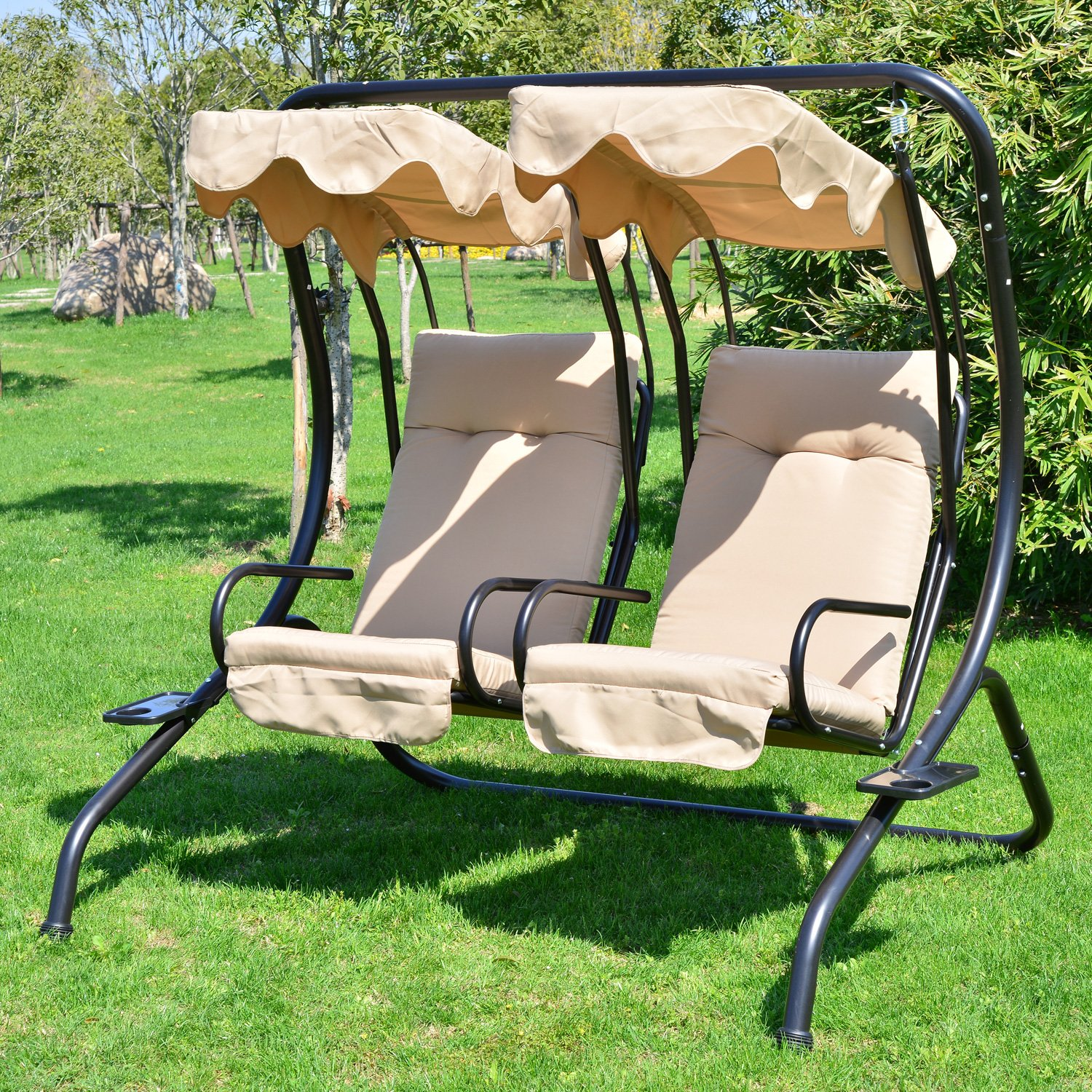 Outsunny Garden Outdoor Swing Chair 2 Seater Swinging Hammock Patio  Cushioned Seat With Tray: Amazon.co.uk: Garden U0026 Outdoors Part 56