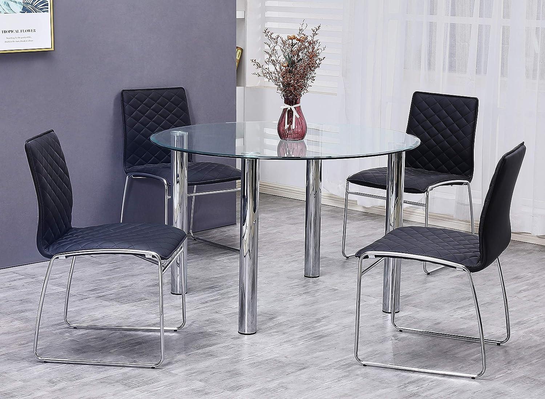 Best Master Furniture Tarina 5 Pcs Round Glass Top Dinette Set, Black