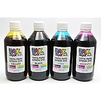 INK Depot Juego de 4 Tintas Marca Compatible con EPSON para Recarga de impresoras, multifuncionales, Tanques de Tinta EcoTank, Sistemas de Tinta Continua, Cartuchos Originales y compatibles