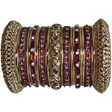 Indian Bridal Collection! Panache' Maroon Bangles Set in Gold Tone By BangleEmporium. X-Small Size 2.4