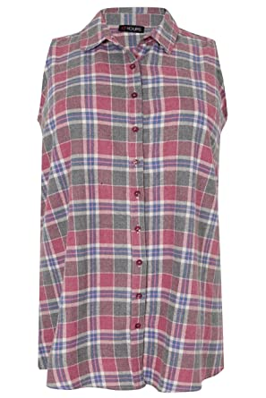 e589d74a139 Yours Clothing Women s Plus Size Checked Longline Sleeveless Shirt Size 16  Red