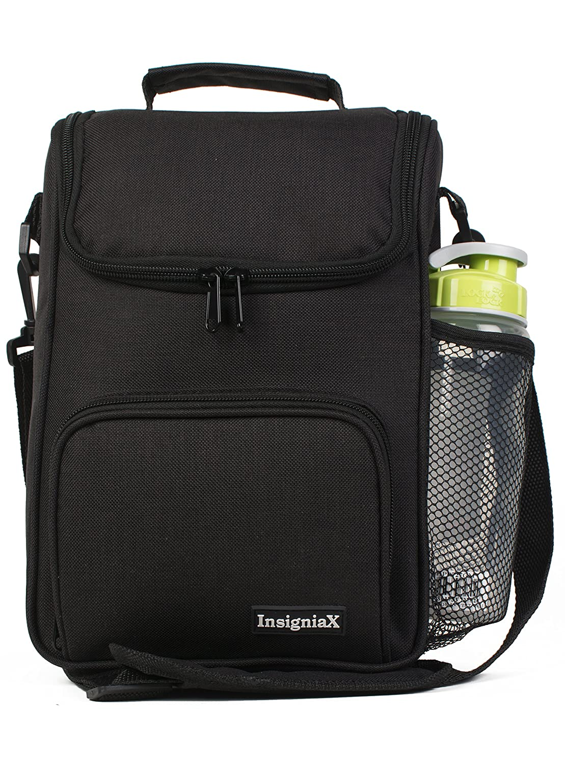 7.9 Standard, Black 11.8 x W InsigniaX Crossbody Lunch Bag Cool Back to School Lunch Box//Cooler//for Adult Women Men Work Girls Boys with Shoulder Strap Water Bottle Holder H 3.9 x L