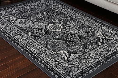 Generations Collection 100 Olefin Grey Silver White Oriental Traditional Panal Persian Area Rugs Rug 8054grey 13'1 x 16'