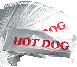 Warming Foil Hot Dog Wrapper Sleeves 75 Pack by Avant Grub. Turn a Party into a Carnival with Classic HotDog Bags that Keep Dogs Warm and Fundraiser or Concession Stand Guests Mess-Free!