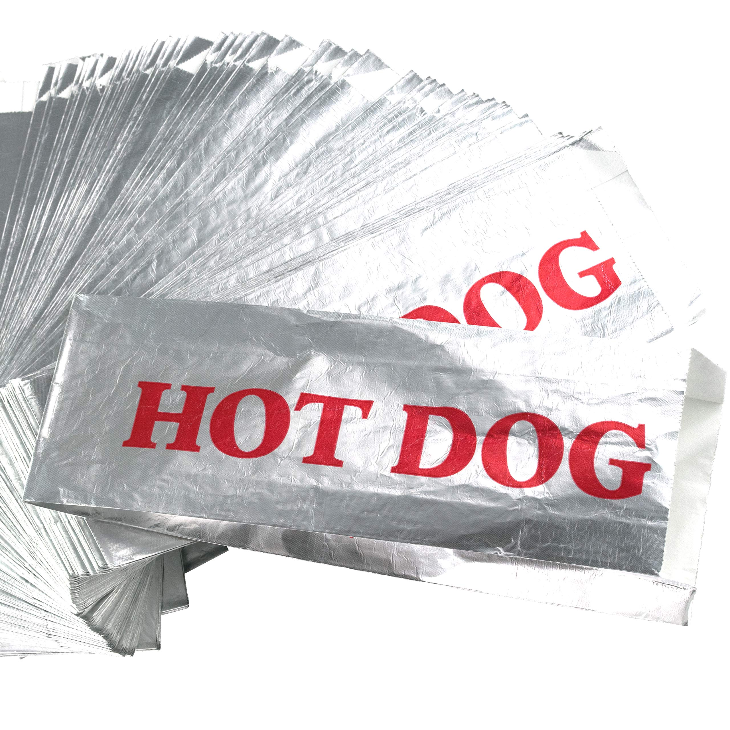 Warming Foil Hot Dog Wrapper Sleeves 200 Pack by Avant Grub. Turn a Party into a Carnival with Classic HotDog Bags that Keep Dogs Warm and Fundraiser or Concession Stand Guests Mess-Free! by Avant Grub