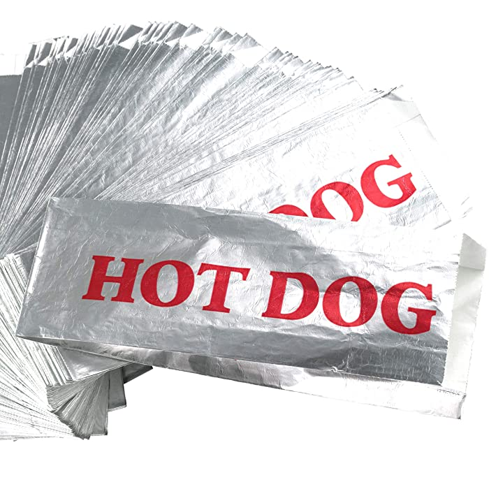 Warming Foil Hot Dog Wrapper Sleeves 50 Pack by Avant Grub. Turn a Party into a Carnival with Classic HotDog Bags that Keep Dogs Warm and Fundraiser or Concession Stand Guests Mess-Free!