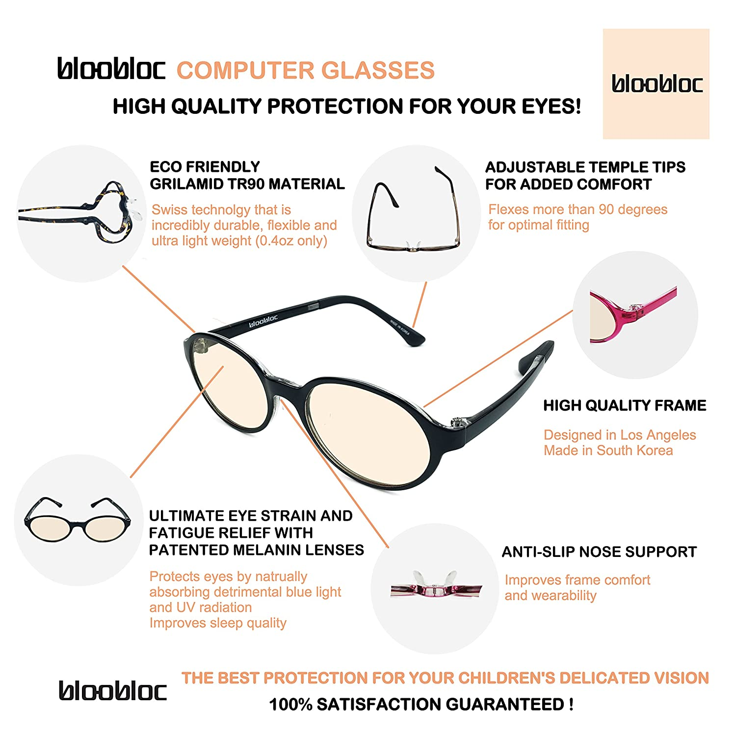 amazon com bloobloc melanin computer reading glasses for kids