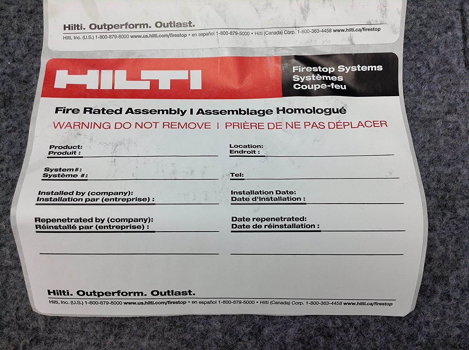 Hilti Firestop Labels Kamos Sticker