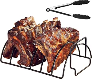 Aptoden Non-Stick Rib Rack Stainless Steel Roasting Stand Plus Tongs - Holds 6 Rib Racks for Grilling and Barbecuing - Black