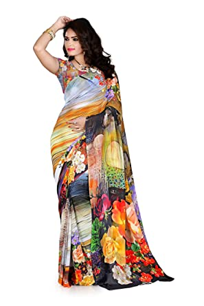 bdbf0df56d Amazon.com: Women's Faux Georgette Digital Print Saree Multicolor ...