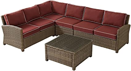 Superbe Crosley Furniture Bradenton 5 Piece Outdoor Wicker Seating Set With  Cushions   Sangria