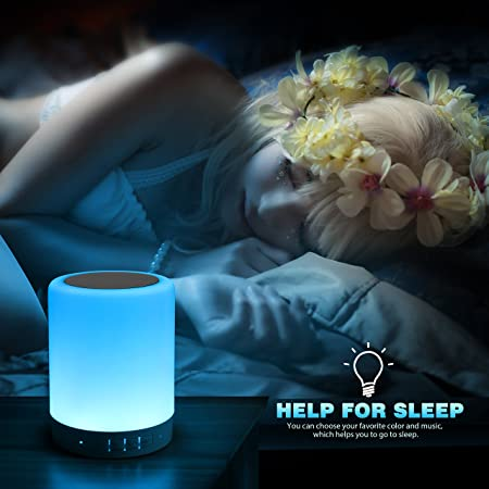 Elecstars Touch Bedside Lamp - with Bluetooth Speaker, Dimmable Color Night Light