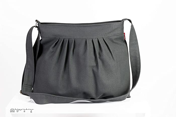 110351dcb3 Gray Bag Canvas Purse Pleated Bag For Women Gift Daily Use Shoulder Bag  Evening Bag Washable Handbag Bags Diaper Bag Eco-Friendly Fabric Different  Colors ...