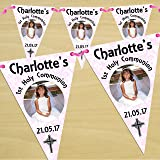 Personalised Girls Pink First 1st Holy Communion PHOTO Flag Banner Bunting N54 - 10 Flags inc ribbon