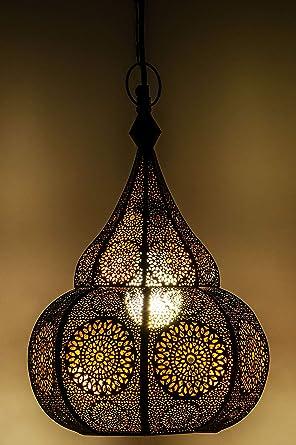 Lámpara Oriental Marroquí - lamparilla colgante - farola de techo Ilham - 40cm - muy práctica para una iluminación excelente - transmite una ...
