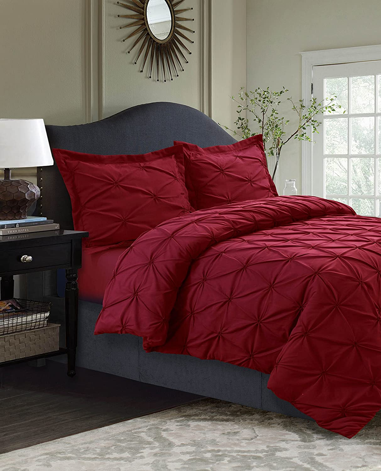 Deep Red King Tribeca Living SYD110DSKIWH 110 GSM Sydney Microfiber Duvet Cover Set, King, White