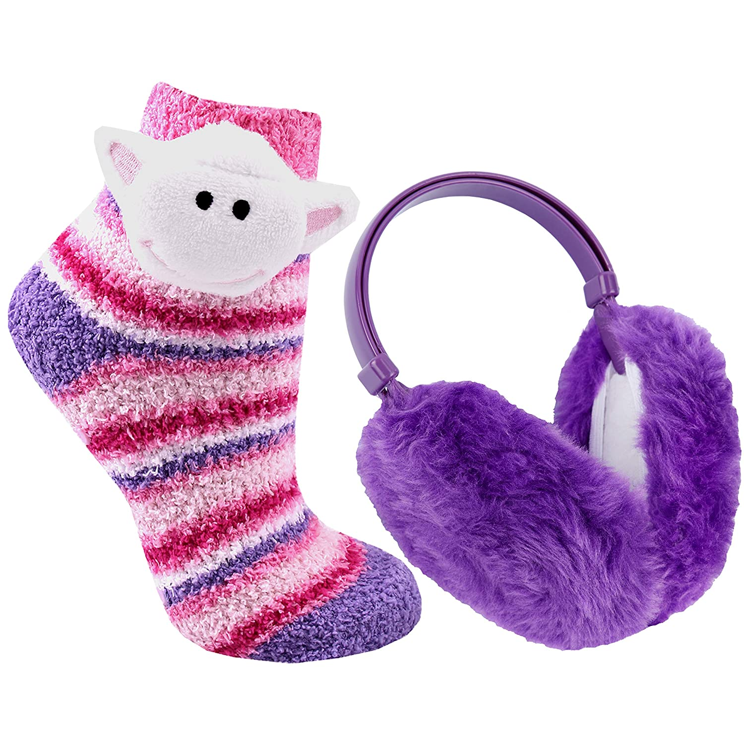 Metzuyan Girls Fluffy Animal Slipper Sock /& Earmuff Set Sheep