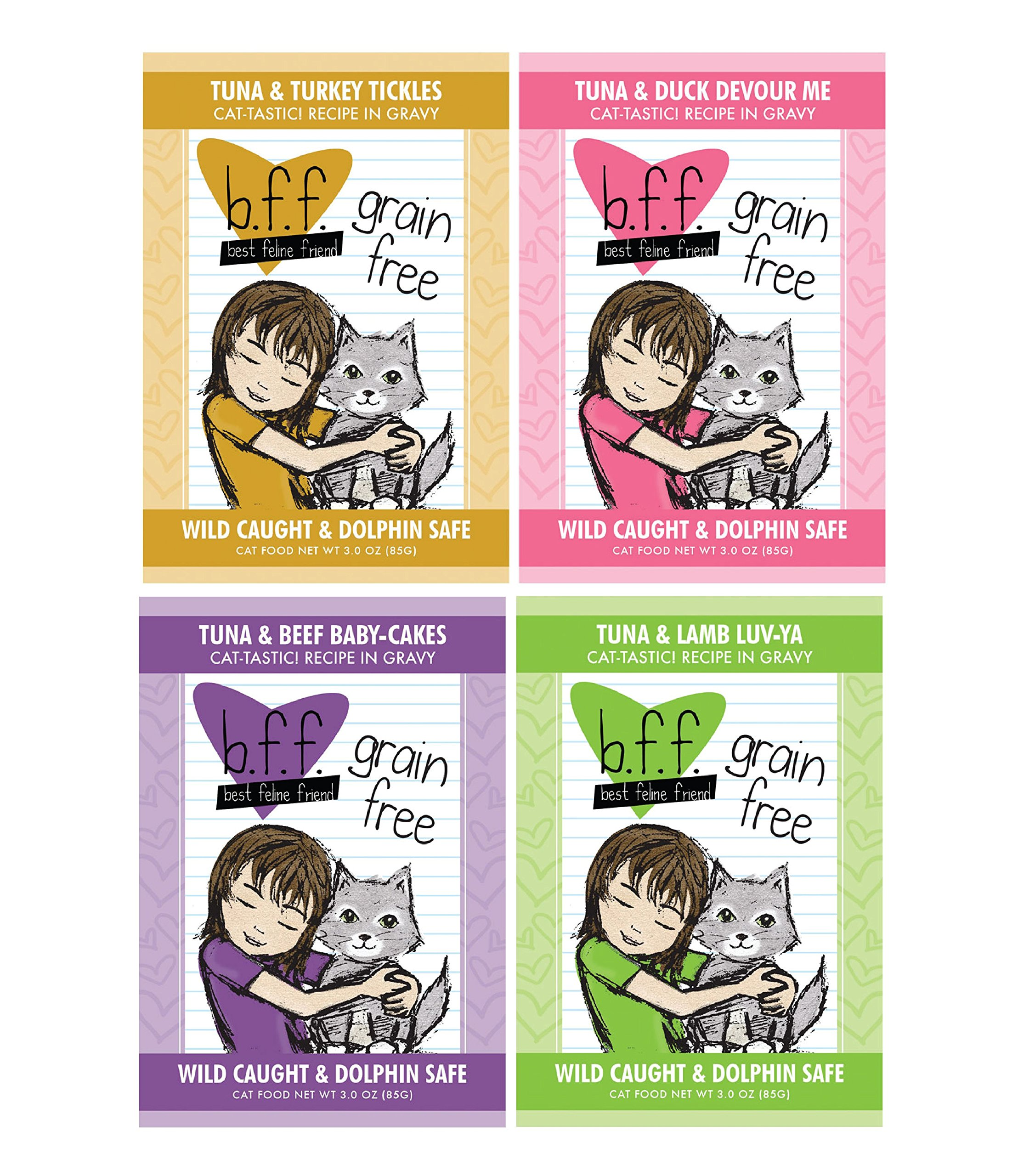 BFF 3 Oz Cat Food Variety 12 Pouches with 4 Flavors – Tickles, Devour Me, Baby-Cakes, and Luv-Ya