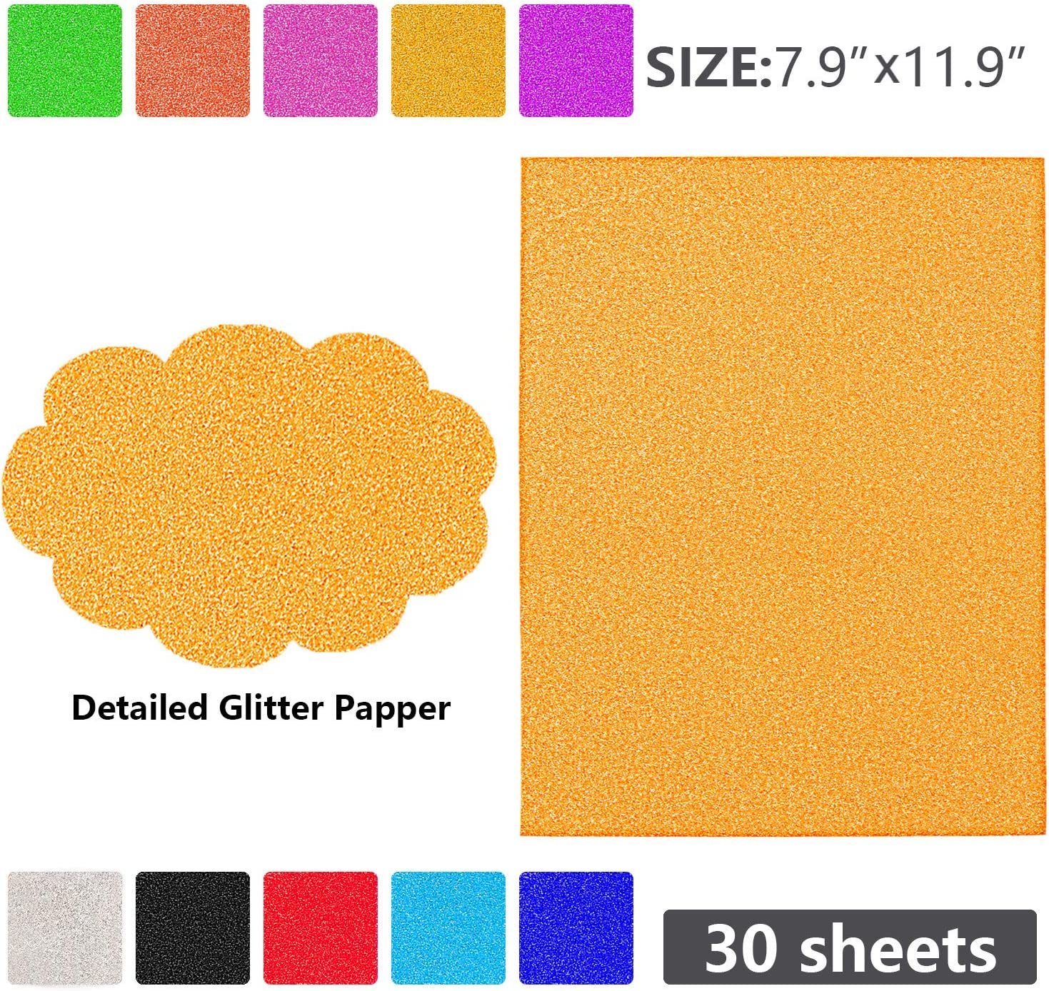WOLLGORD Glitter Cardstock Paper 30 Sheets Sparkly Paper Premium Craft Cardstock for DIY Gift Box Wrapping Birthday Party Decor Scrapbook 10 Colors 250gms