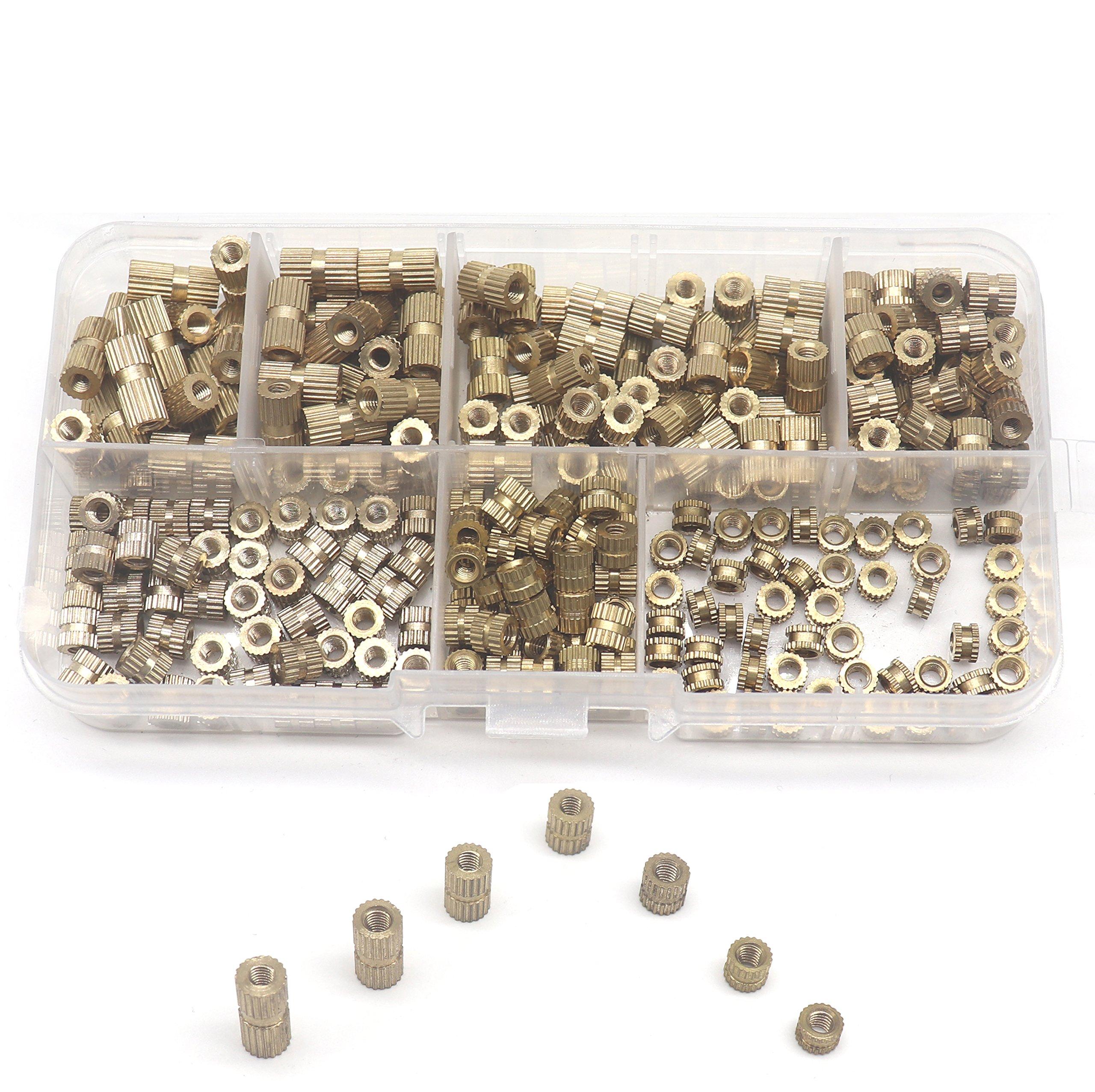binifiMux 250pcs M3 Female Brass Thread Insertd Knurled Nuts Assortment Kit, Embedment Nuts by binifiMux