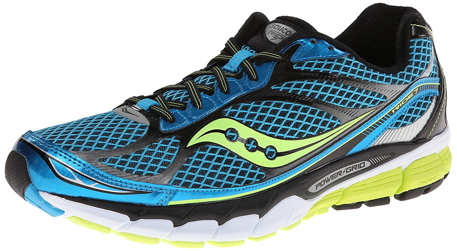 UK Shoes Store  Mens Saucony Ride 7 SilverBlack Sport Athletic Running Shoes S202412 Size 105 Gr