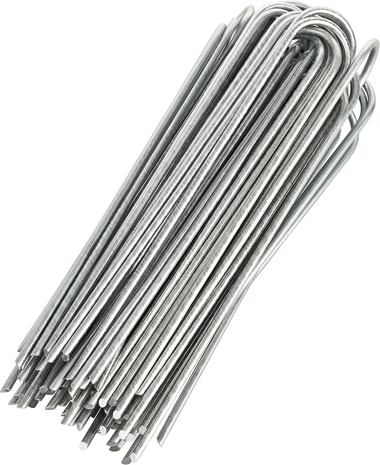GardenMate 200-Pack Anti-Rust 8'' 9 Gauge Heavy-Duty U-Shaped Garden Securing Stakes/Spikes/Pins/Pegs - Hot Dipped Galvanized Sod Staples for Anchoring Landscape Fabric, Many More Applications
