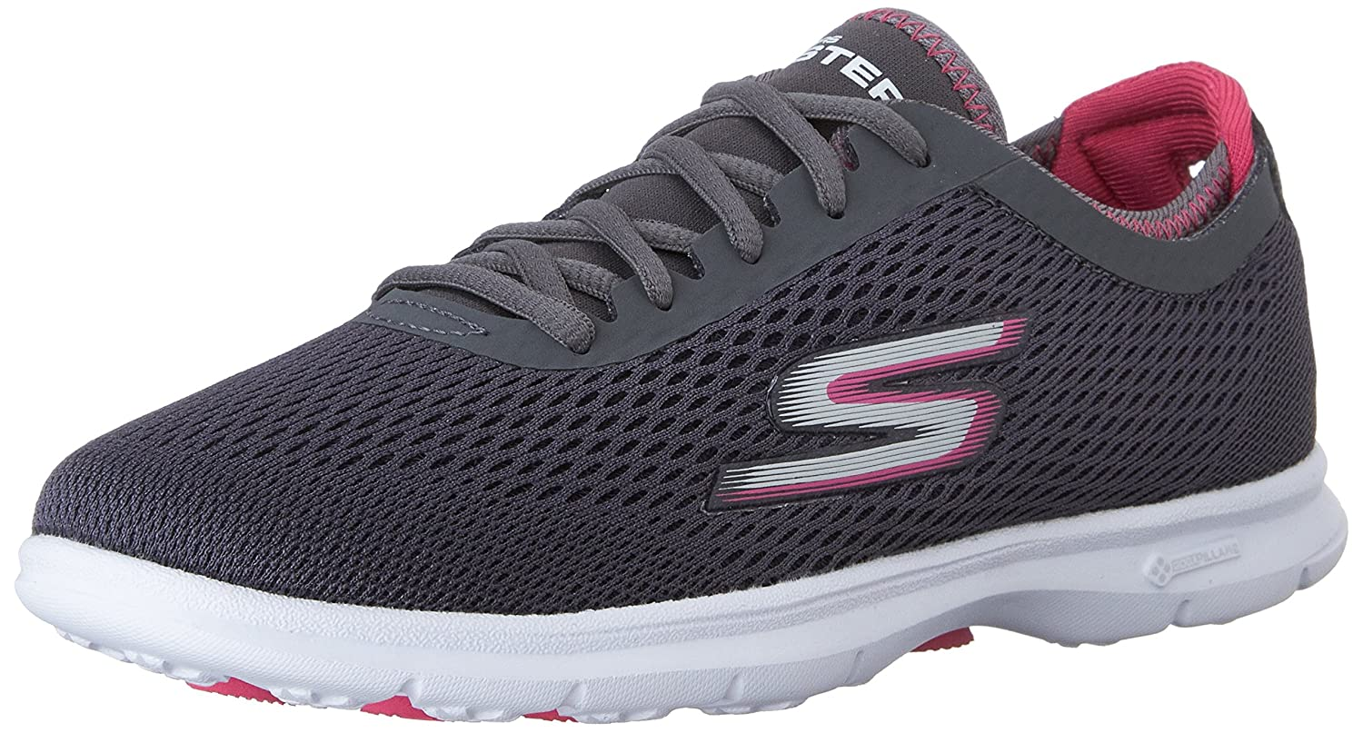 Charcoal Hot Pink Skechers Performance Women's Go Step Lace-Up Walking shoes
