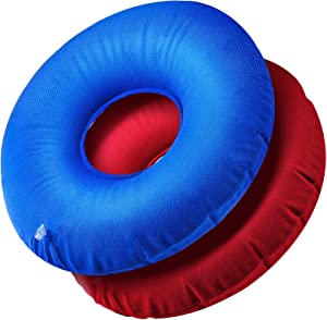 2 Pieces Inflatable Donut Cushion Inflatable Ring Cushion Seat 15 Inch Round Inflatable Cushion Portable Donut Cushion Pillow for Home Office Chair Wheelchair Car, 2 Colors
