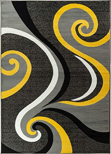 Majestic Looms m1002a Grey Yellow Swirl Modern Abstract Area Rug Carpet 9×12